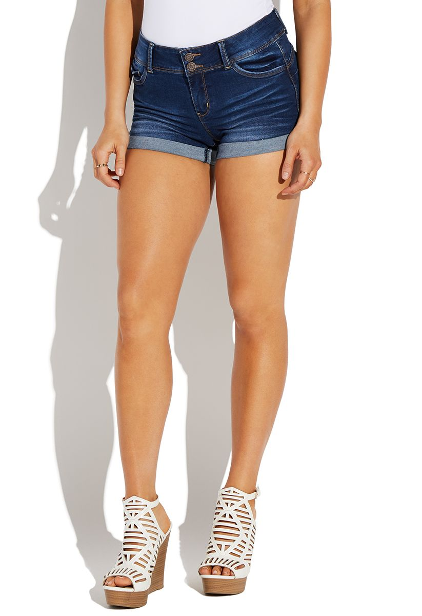 ff07511543 Shoedazzle Booty Push Up Jean Shorts With Whiskers Womens Dark Wash Size S