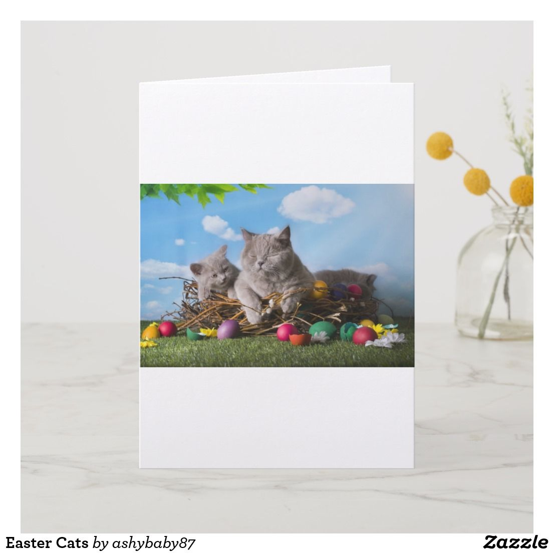 Easter cats holiday card easter cats cat