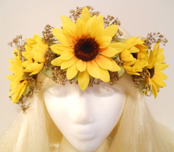 Fall Wedding Hairstyles With Flower Crown: Sunflower Crown Baby's Breath Flower Crown Head By