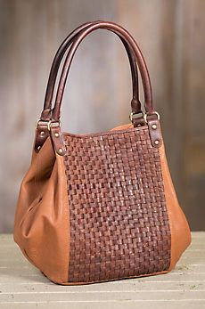 Overland Vivian Lambskin Leather And Woven Cowhide Crossbody Tote Bag
