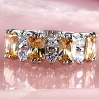 FOR SALE: Morganite and White Topaz Mounted on a Sterling Silver Ring Size 8 for $26