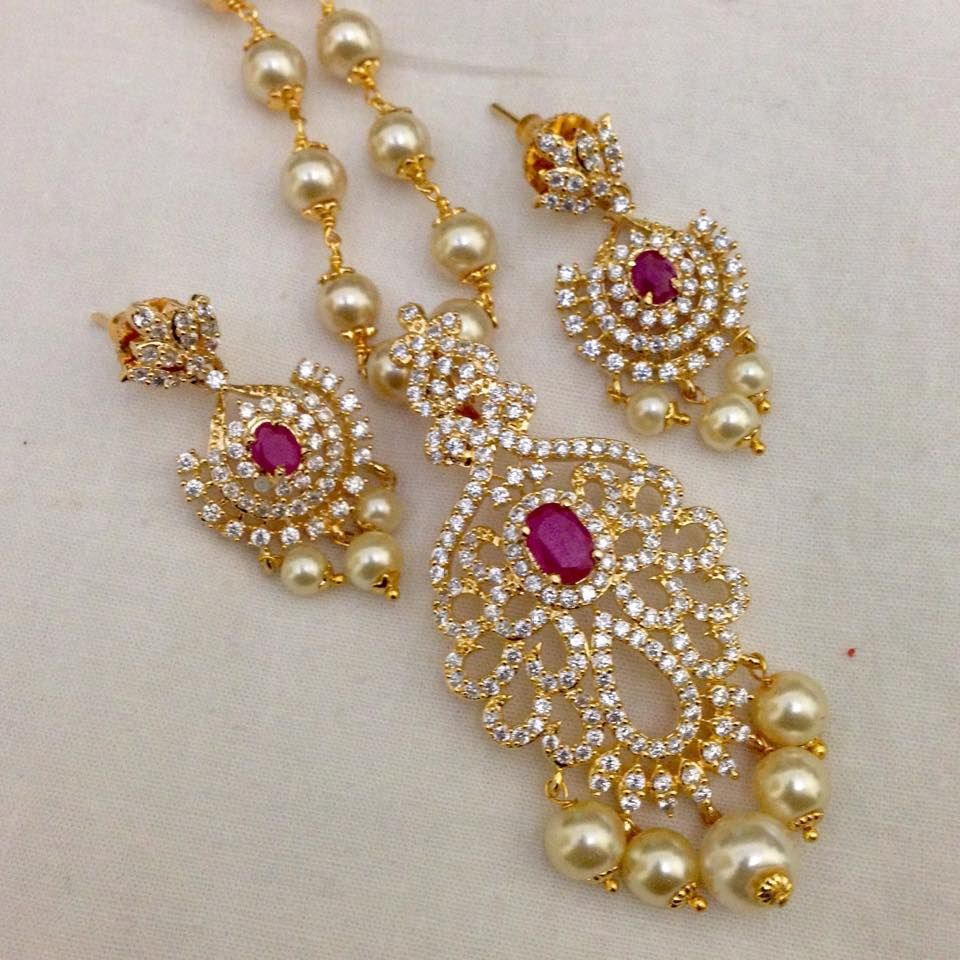 Cz and ruby pendant with pearl drops and earrings code ps
