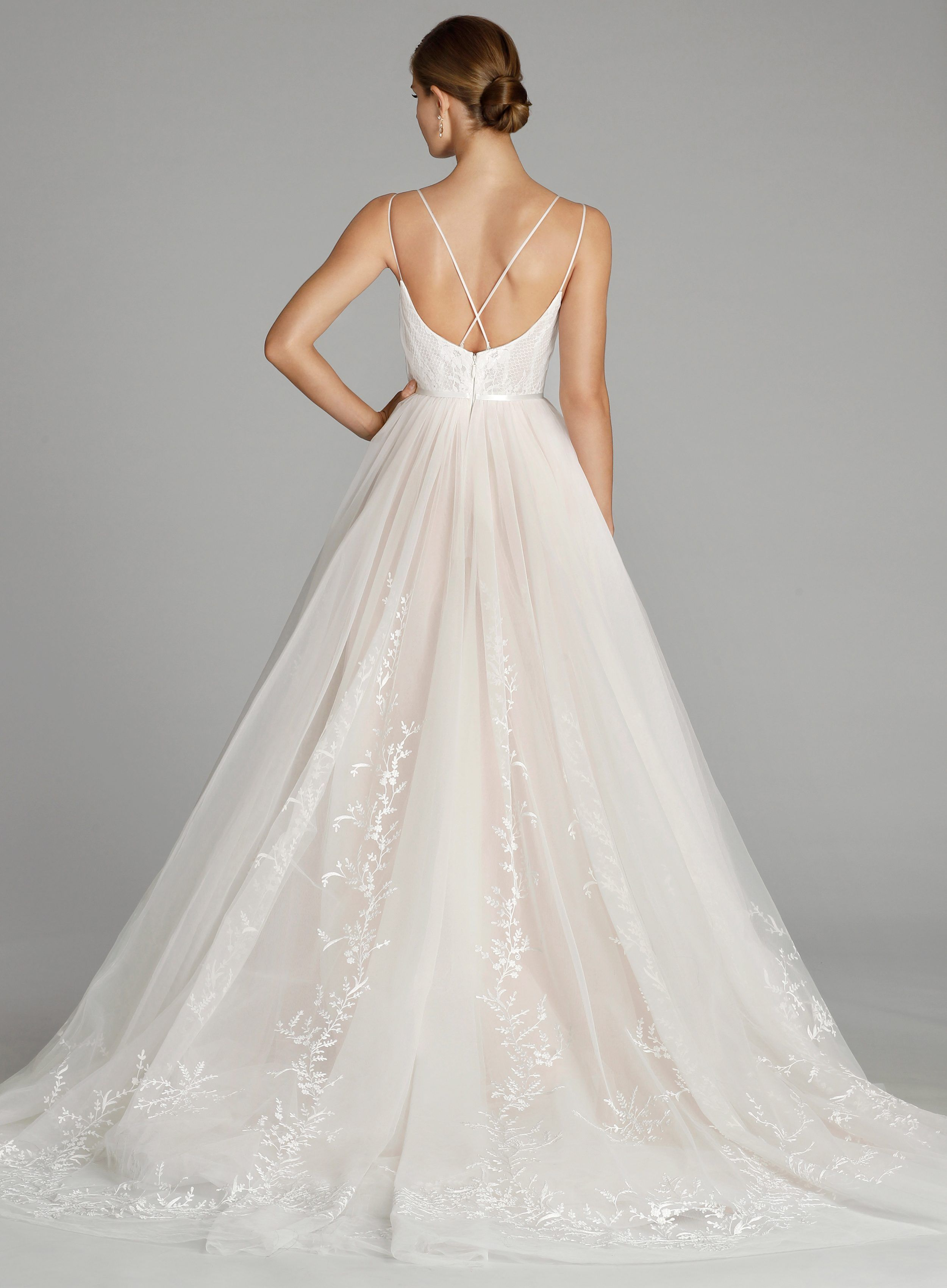 692da5e80069 Alvina Valenta - tulle flowing wedding gown with delicate floral embroidery  and double spaghetti straps