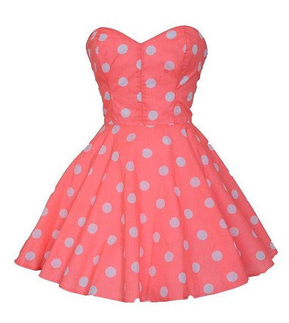 Pin-Up Coral Polka Dot Prom Party Dress | Pinterest | Fiesta coral ...