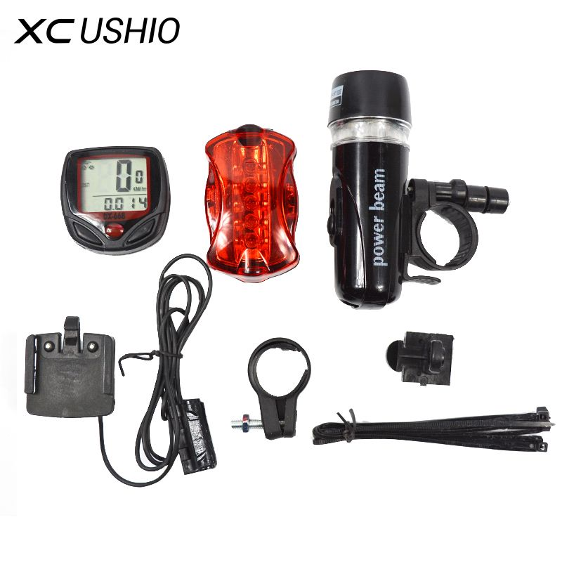 Bicycle Speedometer Rear Lamp Light Bike Accessories 5 LED Cycling Light Head