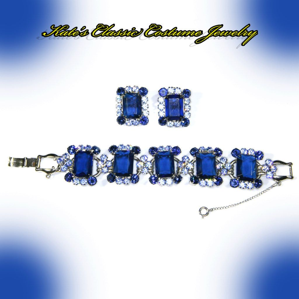 Juliana Delizza & Elster Five Link Bracelet & Earrings – Sapphire Blue Rhinestones