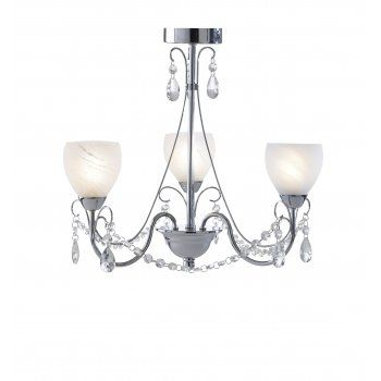 Traditional bathroom ceiling light in polished chrome with alabaster glass shade and bead droplet decoration