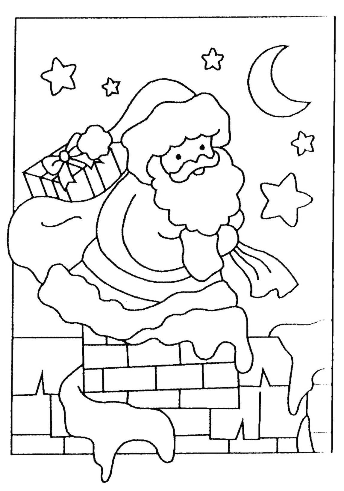 Pere Noel Cheminee - Coloriage Père Noël - Coloriages Pour Enfants