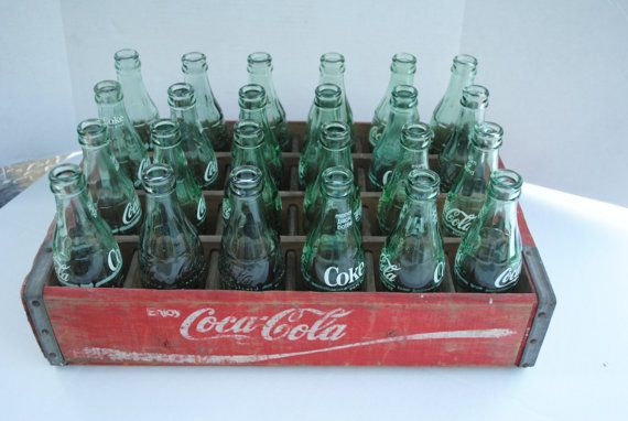 Vintage Coke bottles. You paid a deposit for the bottle and got it back if you returned an empty one.