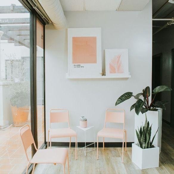 Lobby at BlushTan La Jolla - top floor of La Plaza - Girard Ave, La Jolla.  #salondesign #spainteriordesign #sandiegosalon #salondecor #salondesign #bestofsandiego #pinkchairs