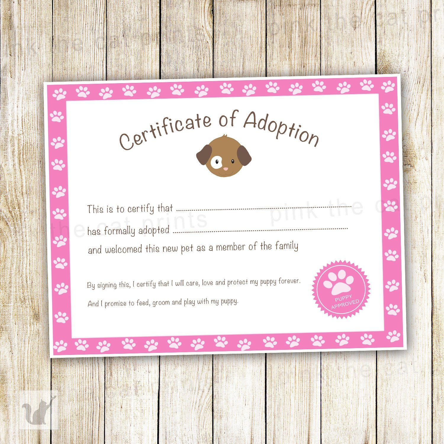 Certificate Of Adoption Puppy Birthday Party Pink Things I Love