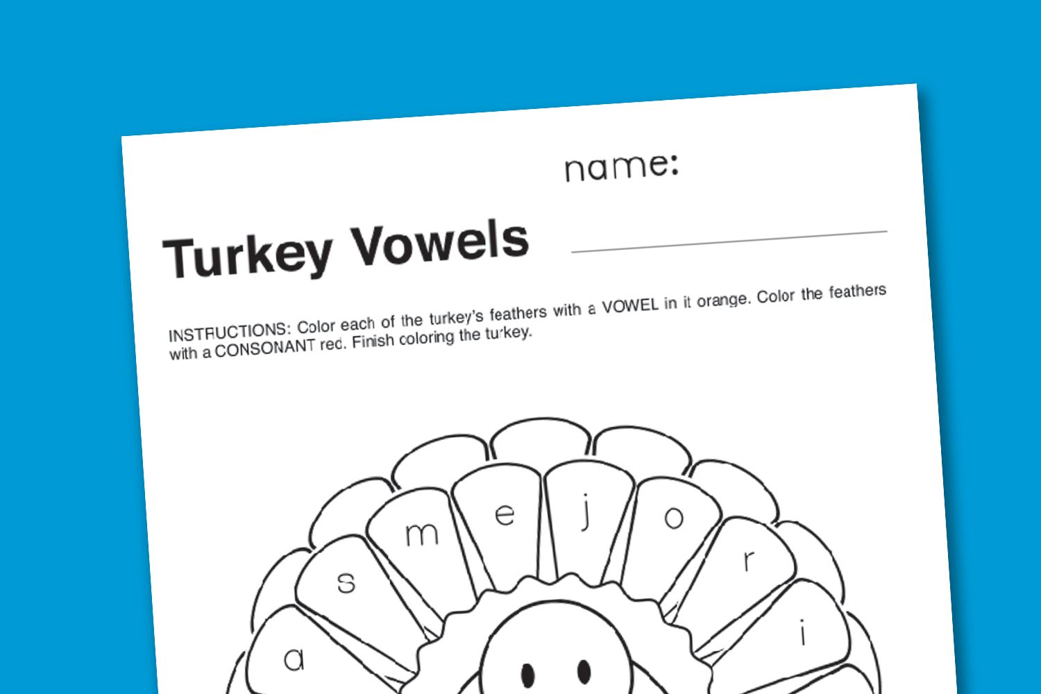 Thanksgiving Vowels Worksheet