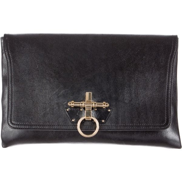 Givenchy Leather Clutch (19,480 DOP) ❤ liked on Polyvore featuring bags, handbags, clutches, black, leather handbags, leather hand bags, leather purse, givenchy handbags and givenchy purse