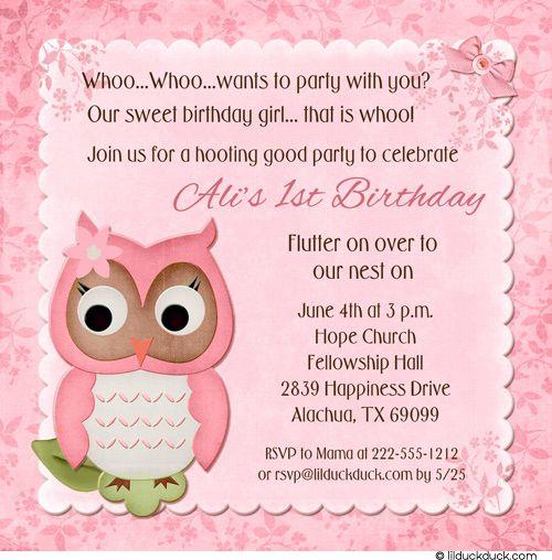 Pink Owl Birthday Card First Invitation Pink Flower Girly Design