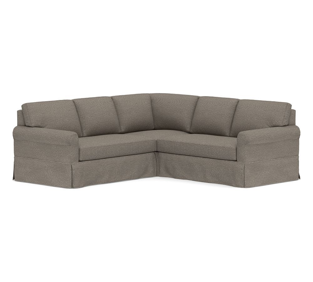 York Roll Arm Slipcovered 3 Piece L Shaped Corner Sectional Down Blend Wrapped Cushions Textured Basketweave Flax At Pottery Barn Slipcovers Sectional Slipcover Sectional Sofa Slipcovers