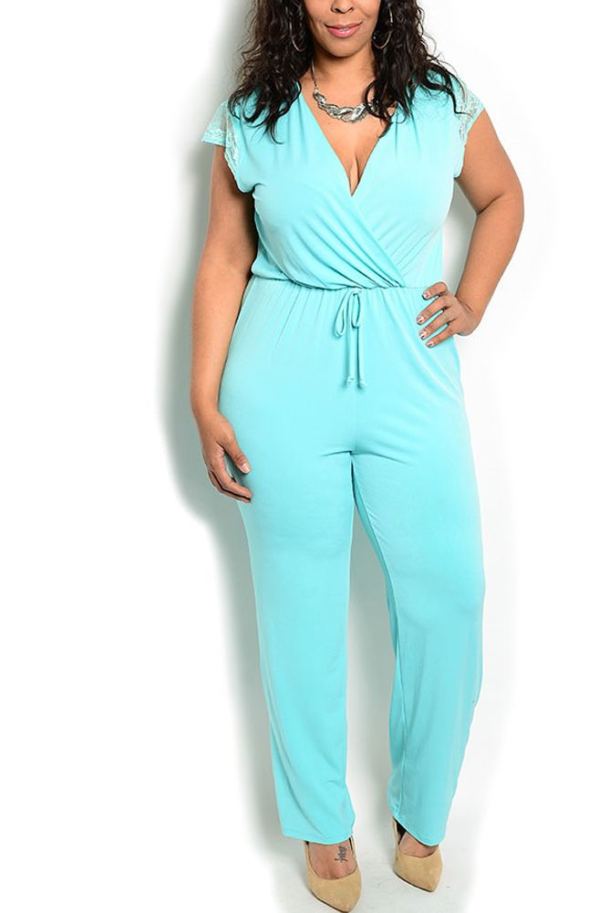 DHStyles Womens Mint Plus Size Sexy Sheer Lace Back Maxi Romper