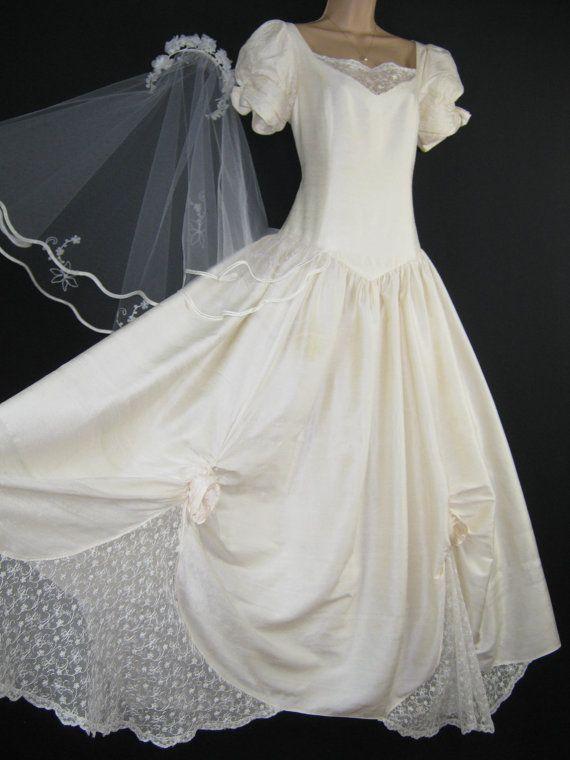 Laura Ashley Vintage Ivory Dupion Silk Rosette Lace Wedding Bridal Gown Uk 14