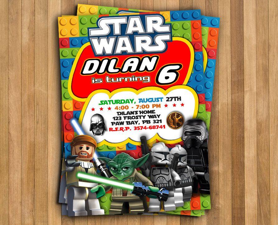 LEGO Star Wars Invitation, Invitation De Star Wars, Lego Star Wars Fête, Un