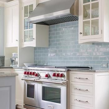 White Kitchen Cabinets With Blue Glazed Subway Tiles Blue