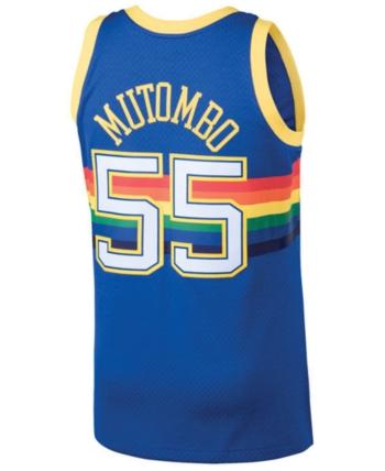 61d1c52b3 Mitchell   Ness Men s Dikembe Mutombo Denver Nuggets Hardwood Classic Swingman  Jersey - Blue Yellow M