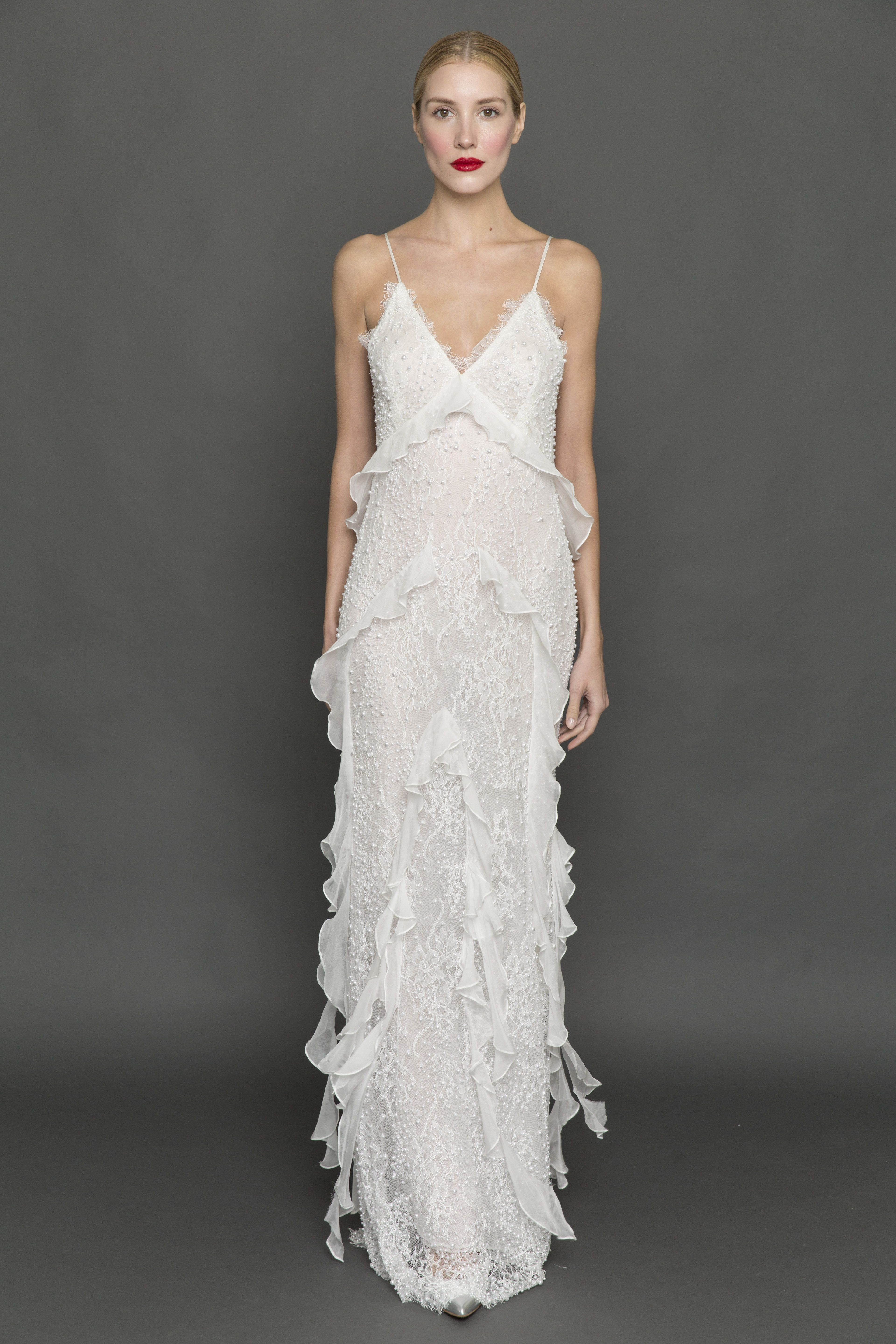 Dress for fall wedding   of the Prettiest Dresses From Fall Bridal Fashion Week  Romantic