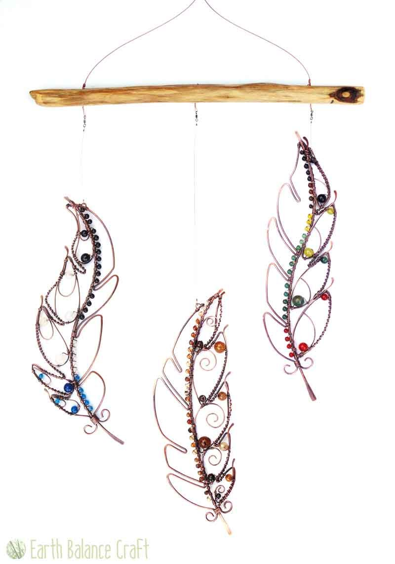 Feather Mobile | Suncatchers | Pinterest | Copper wire, Gemstone and ...
