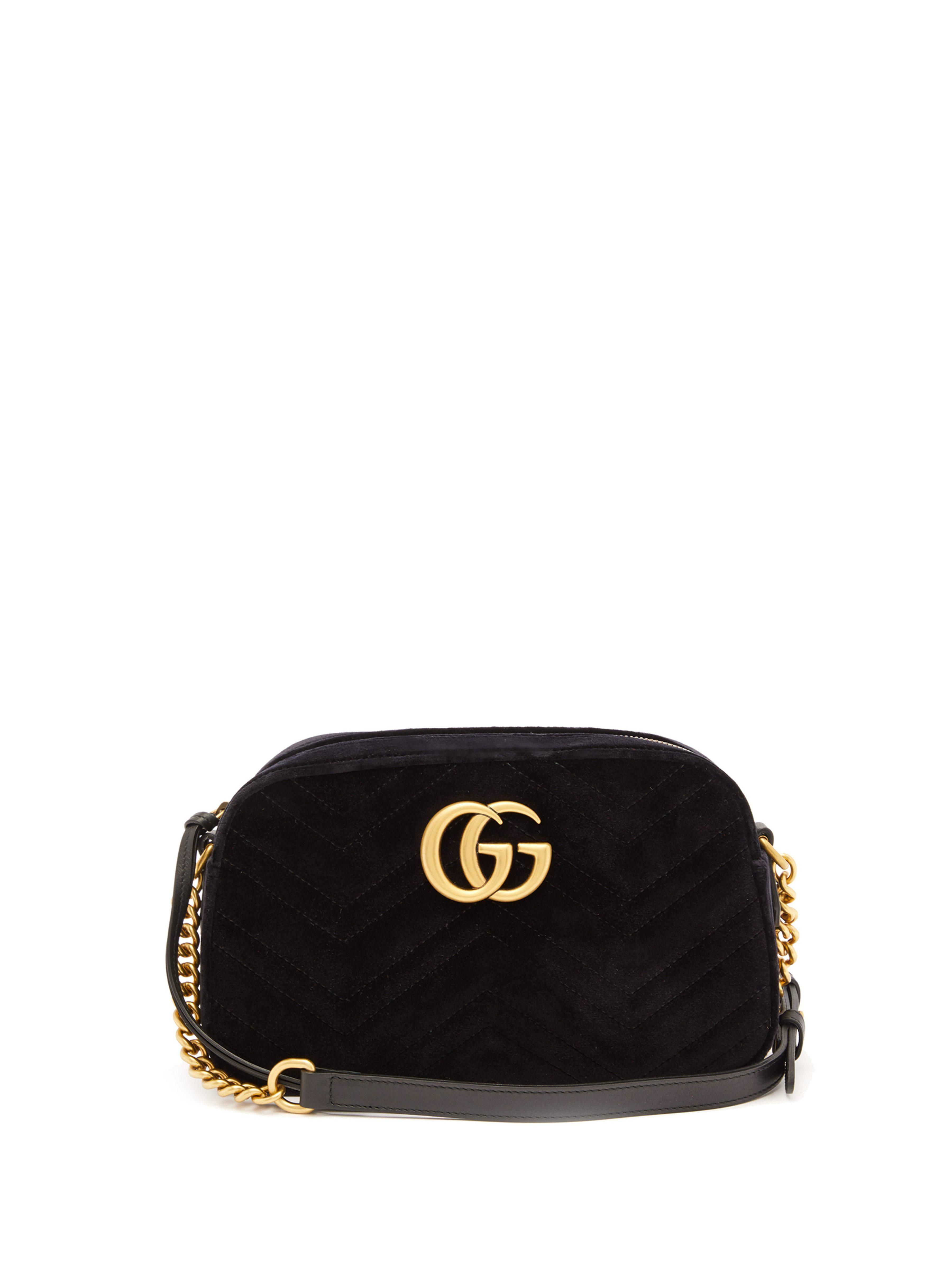 9bc422415 Gg Marmont Small Quilted Velvet Cross Body Bag - Black - Gucci Shoulder bags