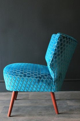 Upcycled 1950s Bartholomew Cocktail Chair - Teal Blue Underground Velvet