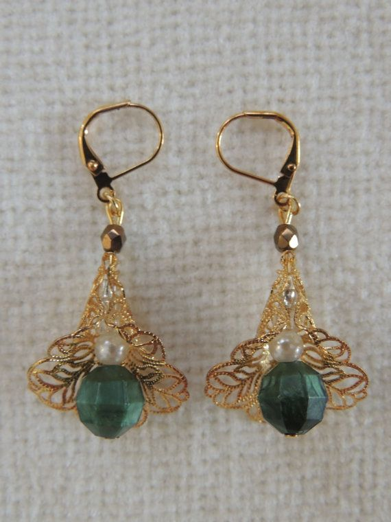 Gold Flower Dangle Earrings with Green White and by StitchMetal, $10.00