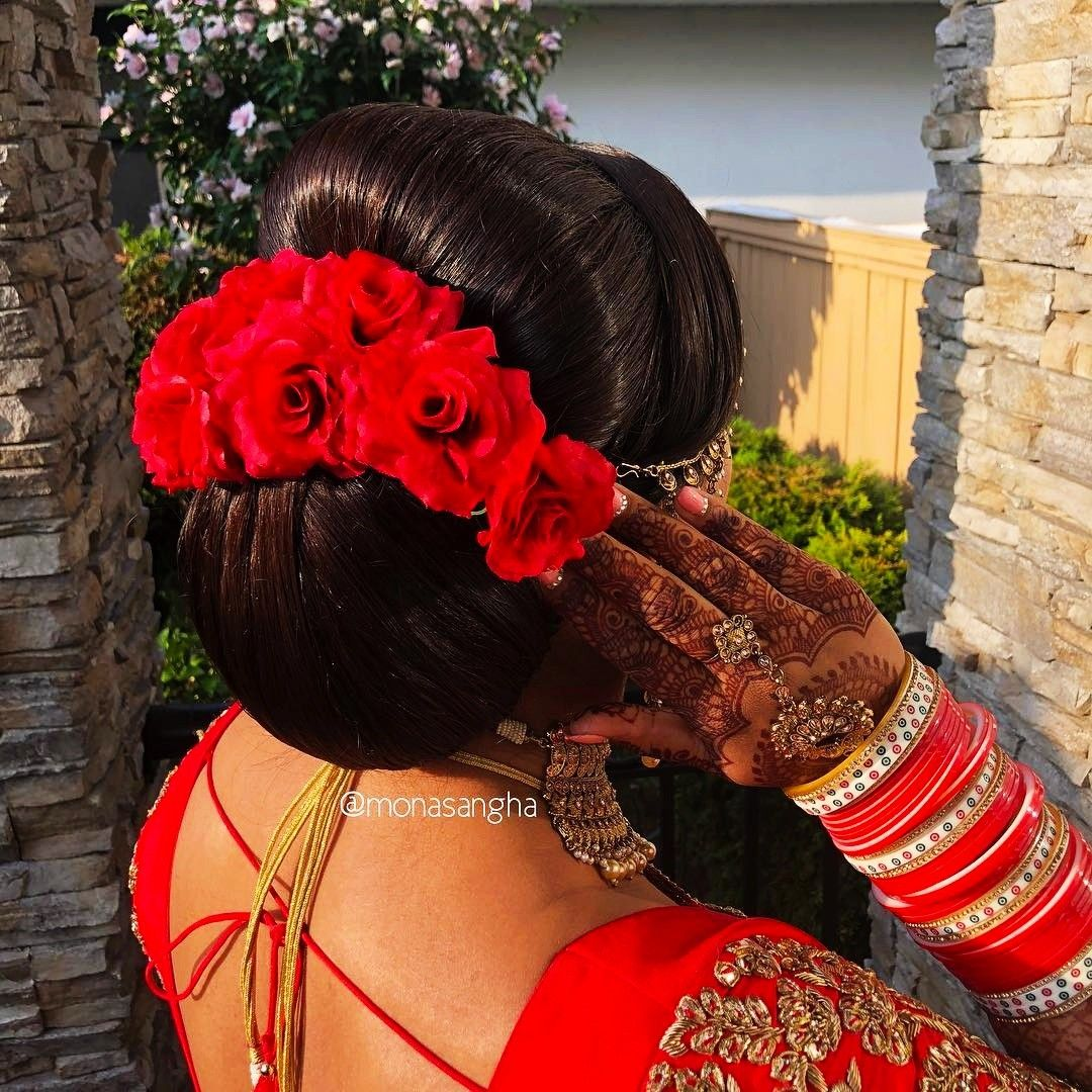 What a beautiful large low bun with real flower gajra! Care however should be taken before ...