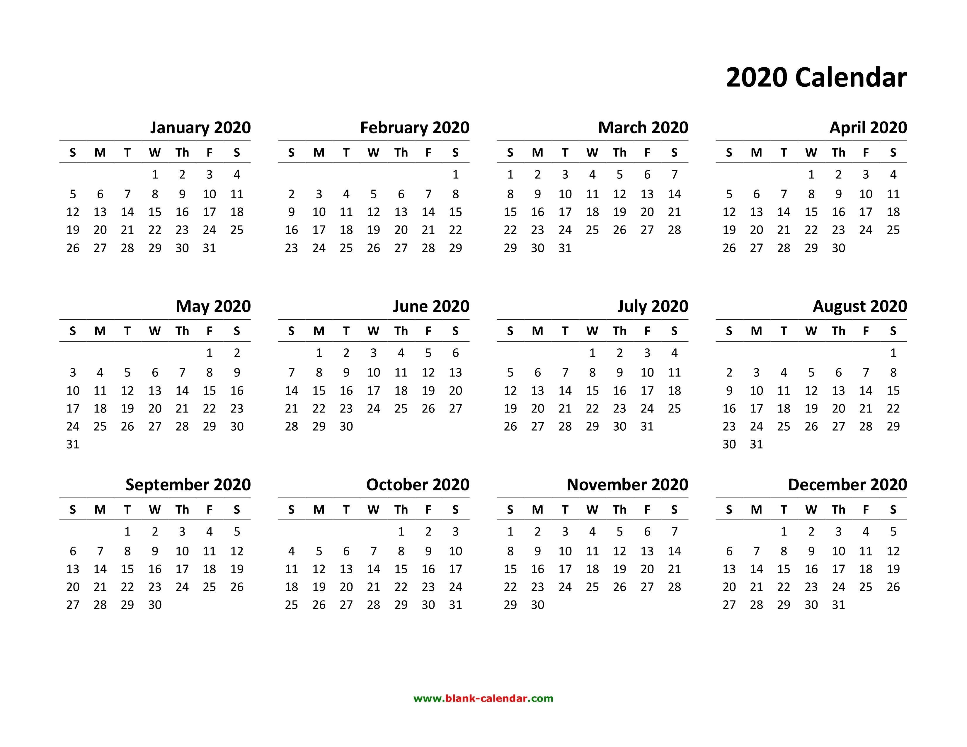 Yearly Calendar 2020 Free Download And Print Free Printable Calendars And Pl Printable Calendar Pdf Free Printable Calendar Templates Printable Yearly Calendar