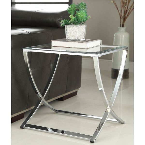 Beau Contemporary Chrome Finish Glass Side End Table