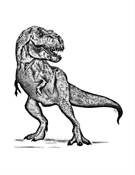 5x7 or 8x10 Tyrannosaurus Rex T Rex Dinosaur Art Print Drawing Wall ...