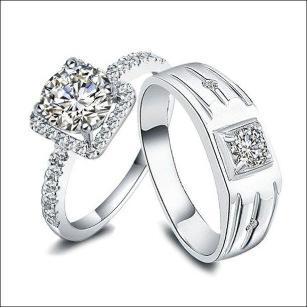 Bride And Groom Wedding Ring Sets 8