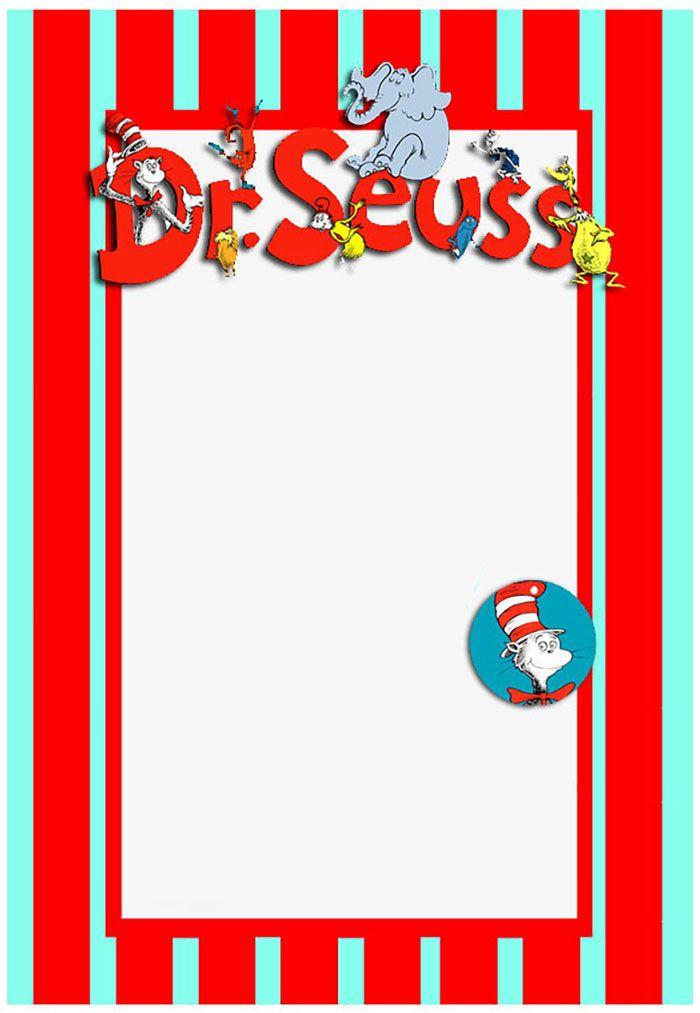 Printable Dr Seuss Invitation Template   Dr. Seuss Party   Pinterest