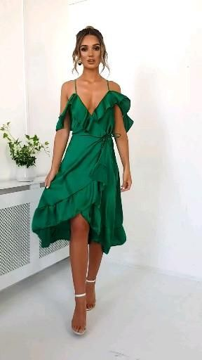 Photo of Clara Frill Satin Wrap Dress