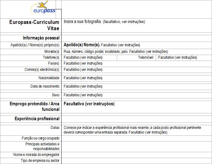 Europass: Curriculum vitæ @ Cedefop. http://europass.cedefop.europa ...
