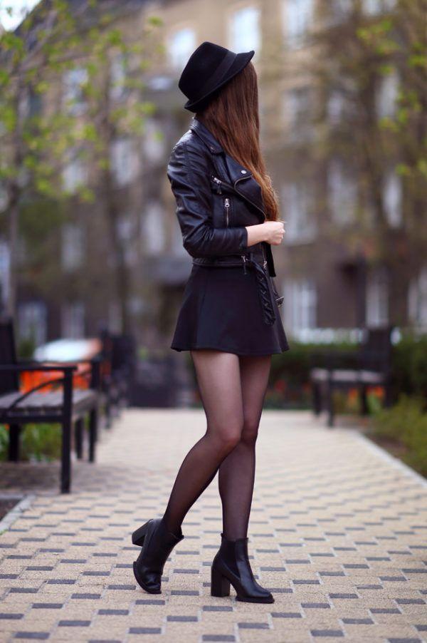 8bdb7c3b18 Resultado de imagen para outfits con falda negra tubo y blusa negra de  encaje blaser blanco y botines von medias