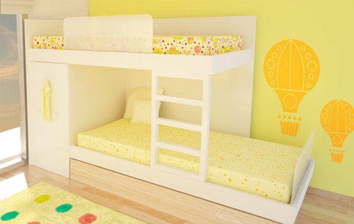 cama alta y cama baja de 1 plaza colocadas de manera