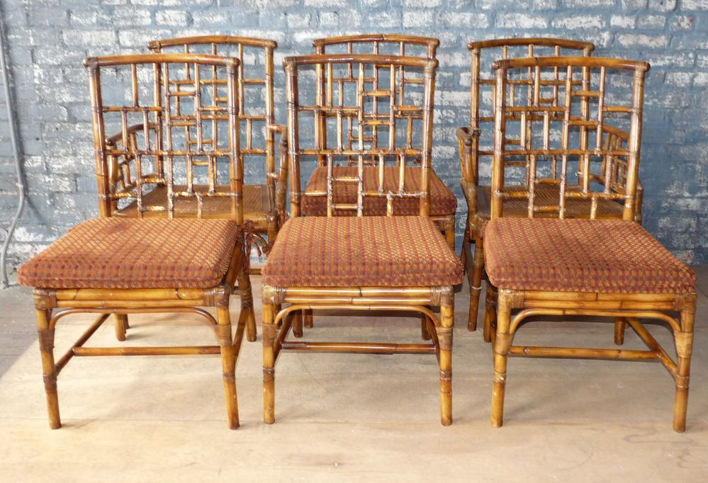 Set 6 Baker Milling Road Rattan Bamboo Dining Chairs Chippendale Bamboo Dining Chairs Dining Chairs Chair