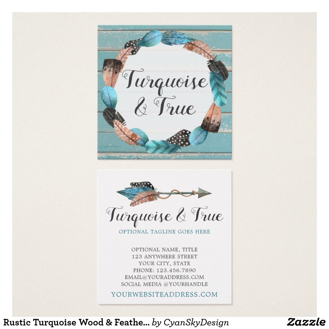 Rustic turquoise wood feather arrow boho chic square business card rustic turquoise wood feather arrow boho chic square business card by cyanskydesign on zazzle reheart Image collections