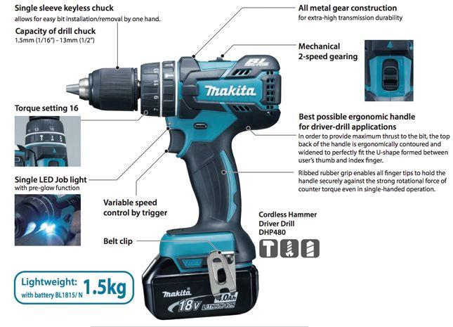 Makita Dhp480 Ddf480 Drills A Toolstop Report Carry Light