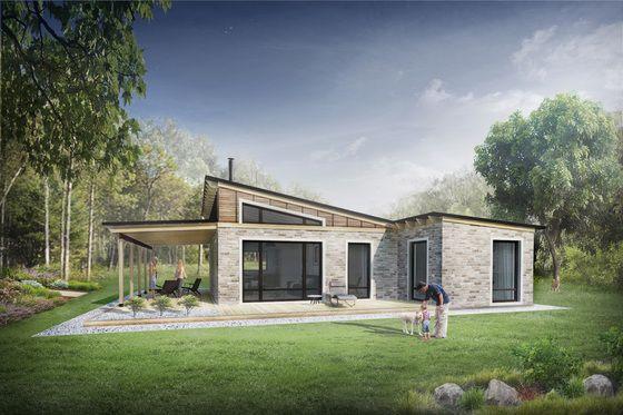 Modern Style House Plan 2 Beds 1 Baths 880 Sq Ft Plan 924 3 Little House Plans Modern Style House Plans House Plans