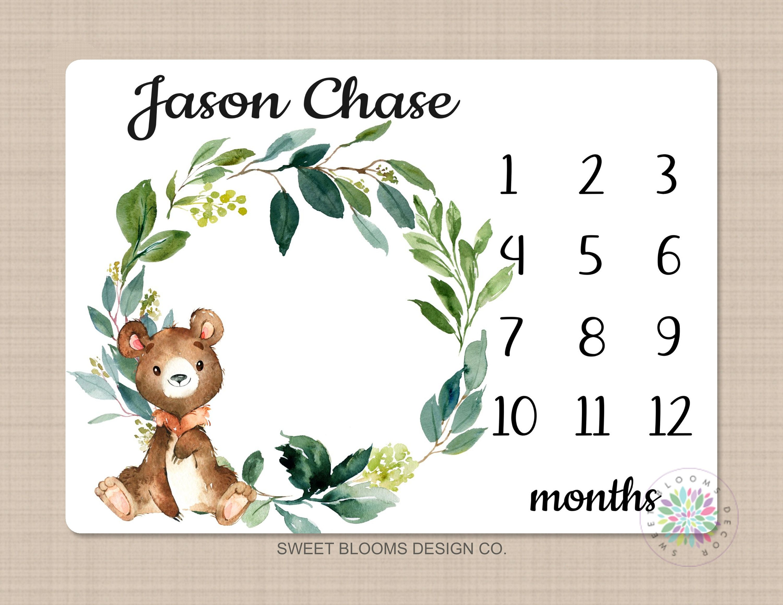 New Baby Gift Personalized Baby Blanket Custom Blanket Bear Baby Milestone Blanket Baby Shower Gift Baby Girl Monthly Growth Tracker