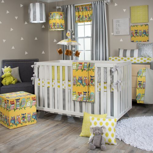 Lil Hoot Collection 4 Piece Crib Bedding Set With Bumper Crib Bedding Cribs Crib Bedding Sets