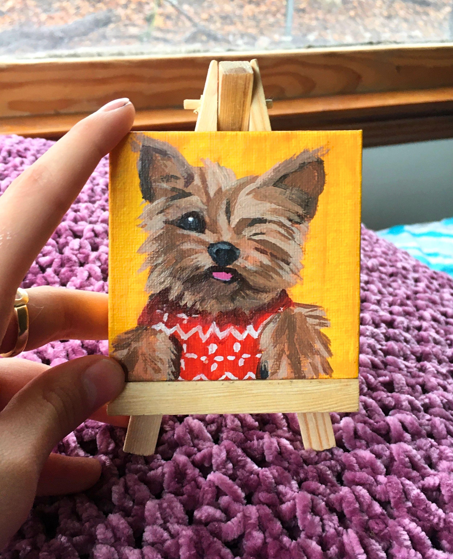Custom Mini Acrylic Pet Painting W/Easel – Explore Now!