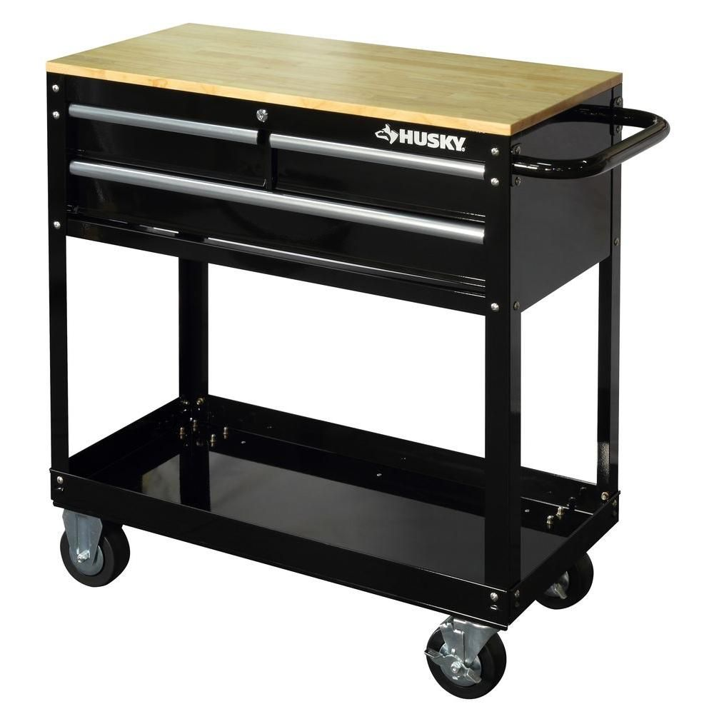 Husky 36 In 3 Drawer Rolling Tool Cart With Wood Top Black Houc3603b1qwk The Home Depot Tool Cart Mechanics Tool Cart Rolling Tool Box