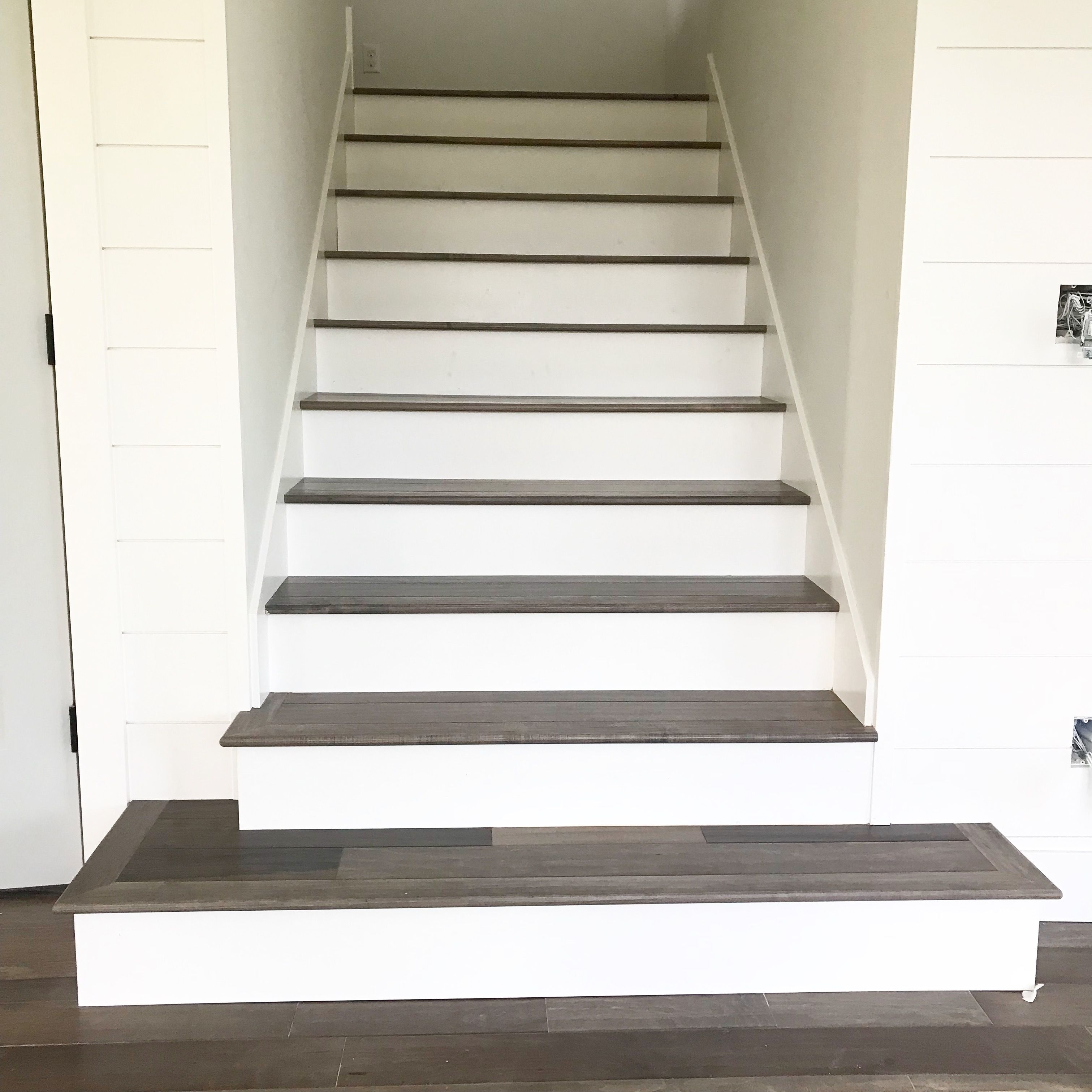 Farmhouse Wood Stairs Hardwood Stairs White Stair Risers Wood | Hardwood Stairs With White Risers | Pine | Tread | Trim | Hardwood Flooring | Before And After