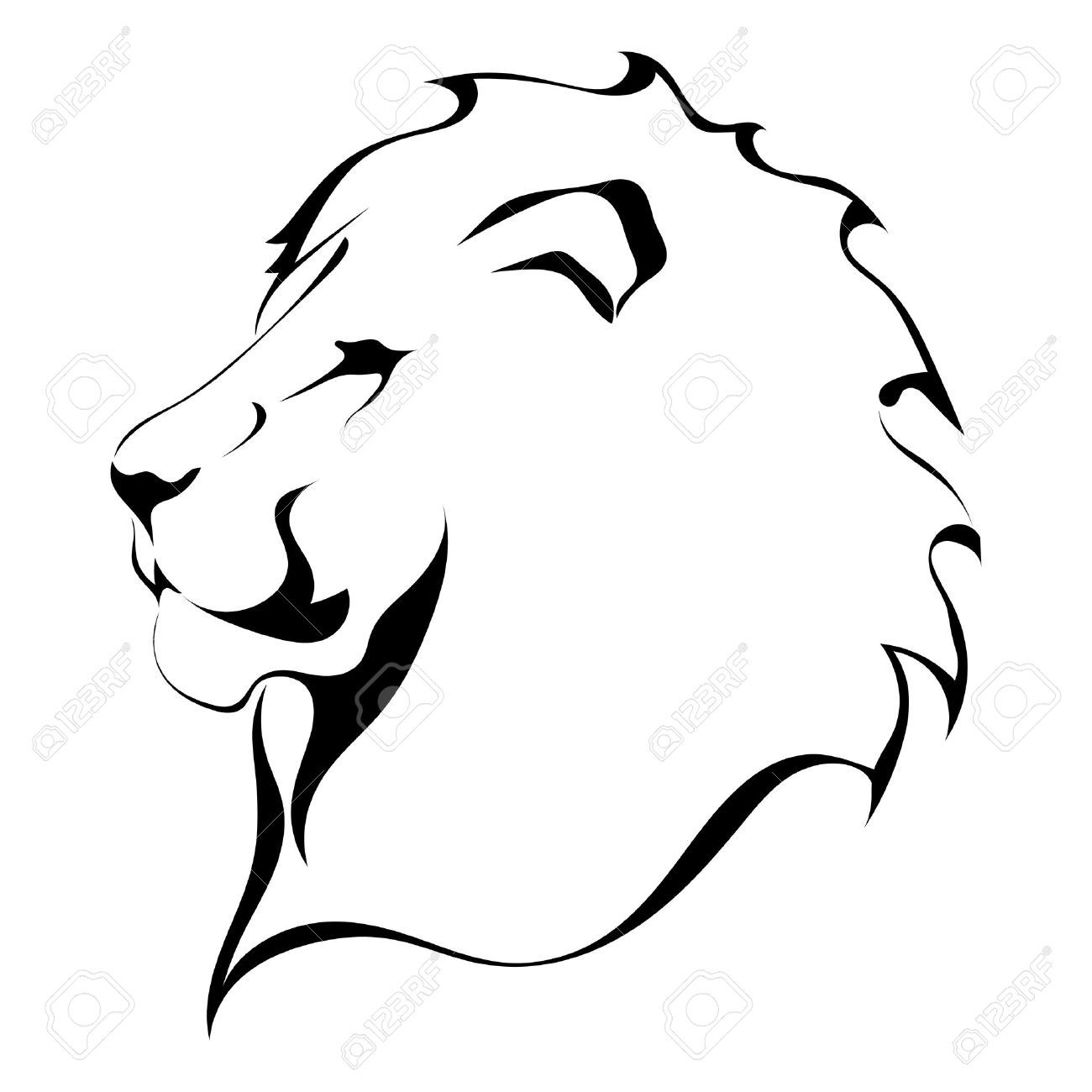Lion Outline Images : Lion outline and coloring image.