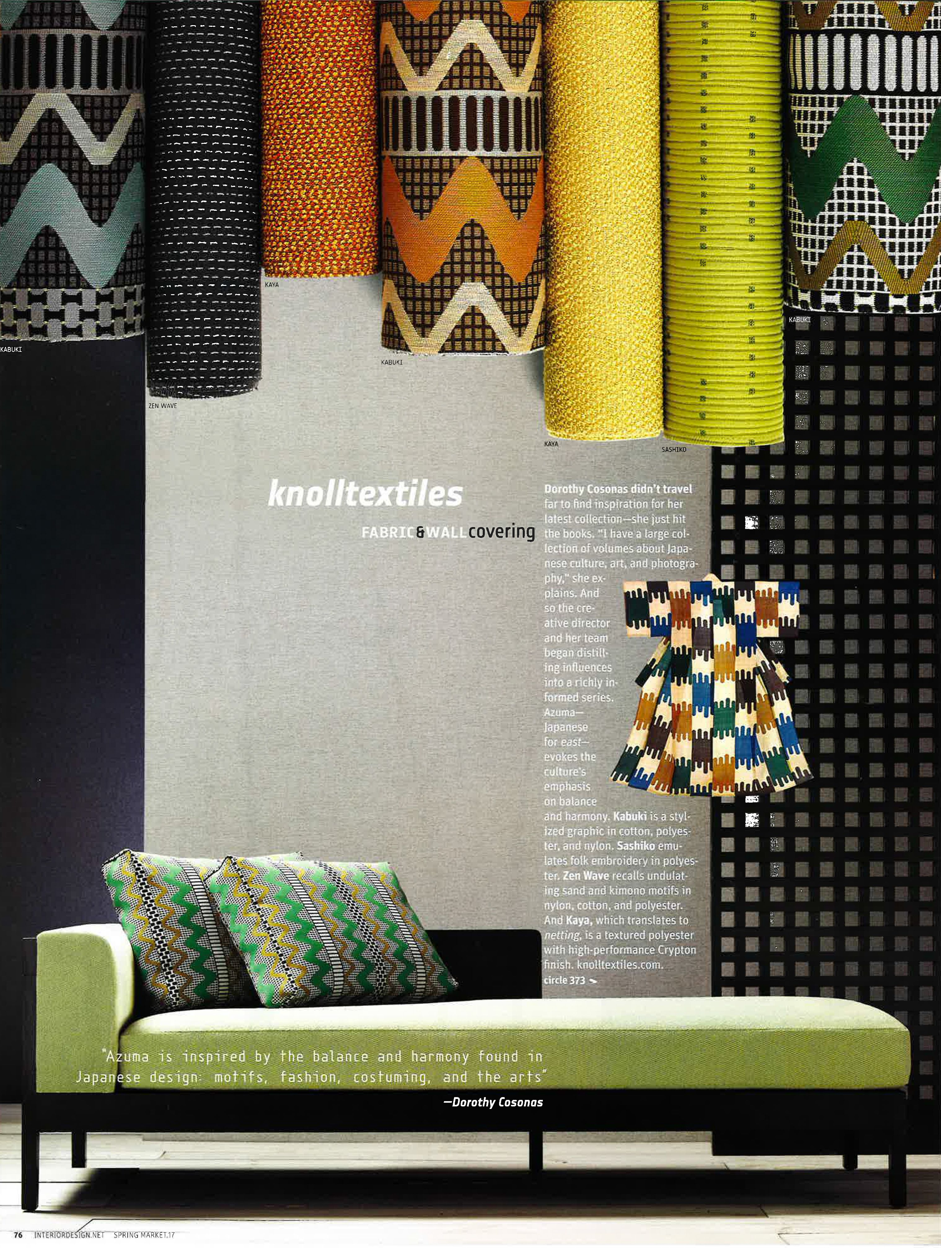 KnollTextiles Azuma Collection, inspired by Japanese design ...